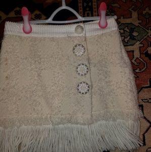 Dolce Gabbana winter fringe white skirt